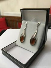 Vintage Baltic Honey Amber Long Sterling Silver Oval Drop Dropper Earrings