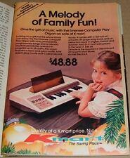 1980 KMART STORE CHRISTMAS PRINT AD~EMENEE COMPUTER PLAY ORGAN~LITTLE GIRL