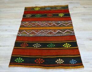 Ethnic Handwoven Stripe Design Kilim Area Rug Vintage Cappadocia Carpet 4x5 ft
