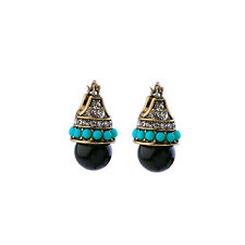 Stone Gold Earrings Nice Quality Hot Vintage Fashion Black Round
