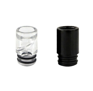 2 x Acrylic Spiral Drip Tip Black & Clear Replacement Mouthpiece 510 SMOK TFV8