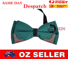 MEN'S  BOWTIE TUXEDO BOW TIE Green Fashion Gold Tipped PARTY BALL HIGH Quality