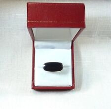 Created Black Onyx 925 Sterling Silver Modern Solitaire Ring US (8) AU (Q)