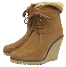 Ravel Winter Boots Shoes Tan Suede Wedge Heel Warm Fur Ankle Boots UK 7