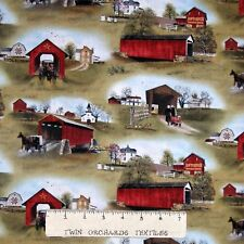 Headin' Home Fabric - Amish Covered Bridge Barn Wagon - Elizabeth's Studio YARD