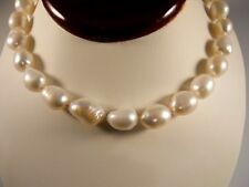 Sterling Silver, Large Size White Freshwater Cultured Pearl Necklace