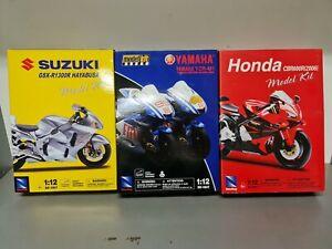 CLEARANCE.   3 x  1/12 Newray model kits. Suzuki, Yamaha,Honda