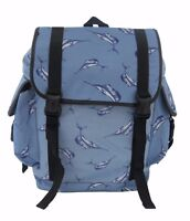 BLUE DOLPHIN Laptop Backpack Rucksack Fish School College Goth Rock Punk Bag