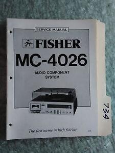 Fisher MC-4026 service manual original repair book stereo receiver turntable