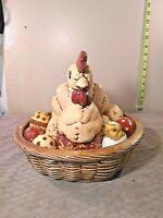 Vintage ceramic Mother Hen ceramic Chicks  Hatching in Ceramic Basket Homemade
