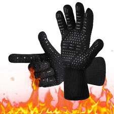1/2x BBQ Grill Gloves Barbecue Silicone Heat Resistant Oven Mitts Kitchen Baking
