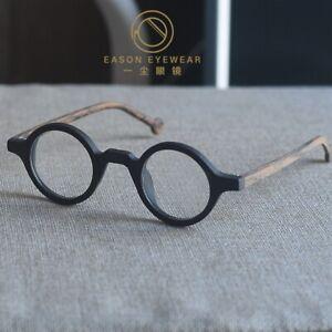Round eyeglasses men's Retro Vintage 1960's glasses black brown arms RX eyewear