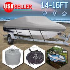 "14-16Ft Heavy Duty Waterproof Trailable Fish Ski Boat Cover V-Hull Beam 90"""