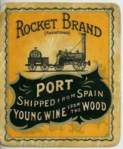 ORIGINAL ROCKET BRAND DRINKS LABEL - PORT SHIPPED FROM SPAIN - EARLY 1900s