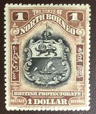 North Borneo 1911 $1 Black & Chestnut Perf 13.5x14 SG180 MVLH