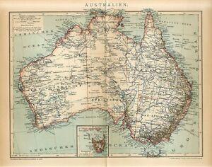 1899 AUSTRALIA and TASMANIA Antique Map dated