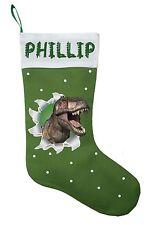 Dinosaur Christmas Stocking - Personalized & Hand Made T-Rex Christmas Stocking