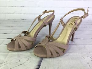 CIRCUS Sam Edelman Womens Size 6 Dusty Champagne Pink Shimmer Sandals Heels Shoe