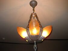 Awesome 1930s Lincoln Fleurette Slip Shade 5 Light Hanging Fixture
