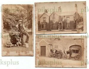 CDV PHOTOS UNIDENTIFIED COUNTRY HOUSE GARDEN STAFF & CARRIAGES SADDLEWORTH C1870