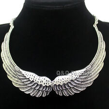 Retro Silver Big Angel Guardian Wing Statement Chain Collar Choker Bib Necklace