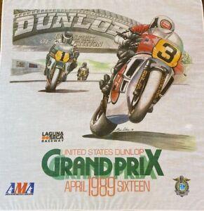 Vintage 1989 AMA Moto Grand Prix Laguna Seca Raceway Dunlop Cloth Screen Print
