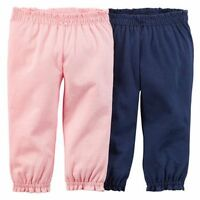 NEW Carter's Girls 2 Pack Pink & Navy Blue Girl Pants NWT 3m 12m 24m Soft Pant