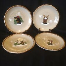 Make The Season Bright 4 Salad Dessert Plates Moose Bear Winter Snow Pottery