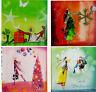 Weihnachten*KRISTIANA HEINEMANN*Postkarte*Mädchen&Baum*Kugeln*Geschenke14x14cm