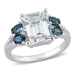 Natural Green Amethyst & Blue Topaz Gemstone with 925 Sterling Silver Ring #3390
