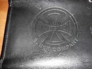 "INDEPENDENT TRUCKS CO. Wallet, Black Leather, Embossed Logo, 10x5.25"""