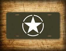 World War II White Star & Circle Emblem Insignia Vintage License Plate WW2 Tag