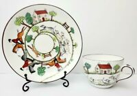 Vtg Crown Staffordshire Hunting Scene Cup & Saucer- Equestrian - Made in England
