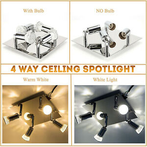 Adjustable Modern 4 Way Square Kitchen LED Ceiling Spot Lights Spotlight Fitting