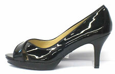 Spot On F10069 Ladies Black Patent Open Toe Platform Court Shoe UK 3 X 8  (R33A)