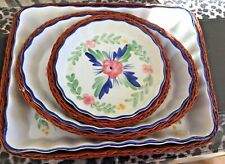 Vintage Set of 3 Ceramic Country Style Flan/Tart Dishes with Baskets - New