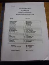 21/02/2001 Rotherham United Reserves v Port Vale Reserves  (single sheet, folded