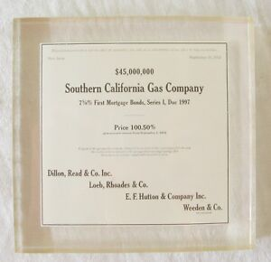 """Vintage '72 Lucite Square 4 5/8"""" x 4 1/2""""  Paper Weight So. Cal. Gas    L20"""