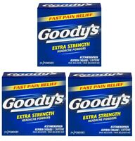 "Goody's Extra Strength Headache Powders Original Folded Papers 24ct - ""Lot of 3"""