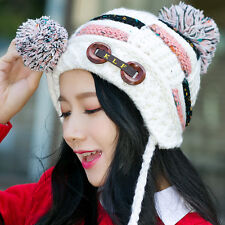 Womens Winter Warm Braided Crochet Wool Knit Hat Girl Beret Ski Beanie Ball Cap