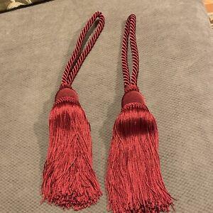 "Burgundy Curtain Tieback 8"" Tassel Drapery Rope Tieback New"