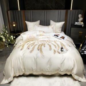 bedding set 4pcs 140S Pure cotton embroidery quilt cover flat sheet pillowshames