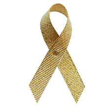 Gold Grosgrain Childhood Cancer Awareness Ribbons - 250 Ribbons with Safety Pins