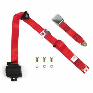 3Pt Red Retractable Seat Belt Airplane Buckle - Each