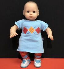 """American Girl Bitty Baby Doll 15""""tall+2pc Argyle Blue Dress Meet Outfit + Shoes"""