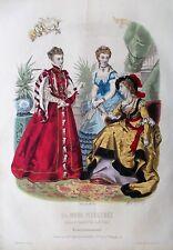 GRAVURE LA MODE ILLUSTREE 1870 N° 3 ROBES ANCIENNES