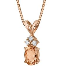 14K Rose Gold Oval Shape 0.75 ct Morganite Diamond Pendant, 18""