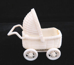 Vintage 1950's Miniature Celluloid Plastic Baby Doll Buggy Pram Carriage