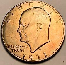 """1971-S Silver Eisenhower """"Ike"""" Dollar Color Unc Gem Orange Bu Lightly Toned (Dr)"""