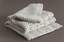 100% Natural Baby Alpaca Throw Blanket, Ivory White Handmade Thick Wool Blanket